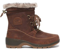 Faux Shearling-trimmed Rubber And Suede Snow Boots Brown