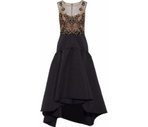 Embellished Tulle-paneled Faille Midi Dress Black Size 0