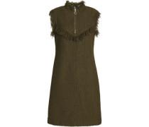 Fringe-trimmed knitted mini dress