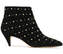 Starr Studded Suede Ankle Boots Black