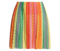 Pleated striped cotton-blend lace mini skirt