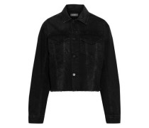 Annie Cropped Frayed Denim Jacket Black