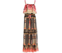 Woman Athena Layered Printed Voile Maxi Dress Black