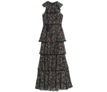 Tiered floral-print crepe maxi dress
