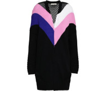 Morgan open knit-paneled color-block cotton-blend cardigan