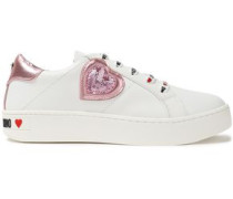 Appliquéd Logo-print Leather Sneakers Pink