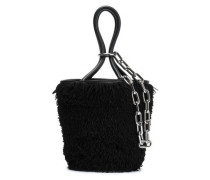 Leather-trimmed Fringed Suede Bucket Bag Black Size --