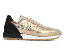 Embellished metallic leather and suede sneakers