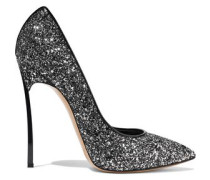 Patent leather-trimmed glittered leather pumps