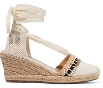 Embellished Canvas Wedge Espadrilles Ecru