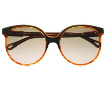 Round-frame Acetate Sunglasses Light Brown Size --