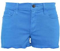 Le Cutoff Frayed Denim Shorts Azure  5