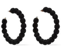 Gold-tone Cord Hoop Earrings Black Size --