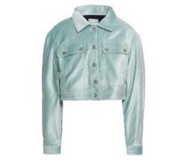 Cropped Cotton-blend Velvet Jacket Mint