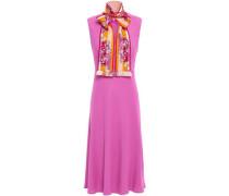 Woman Pussy-bow Stretch-crepe Dress Fuchsia