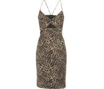 Cutout leopard-print crepe dress