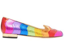 Kitty Metallic Snake-effect Leather Slippers Multicolor