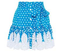 Emy Crochet-trimmed Polka-dot Cotton Mini Skirt Blue