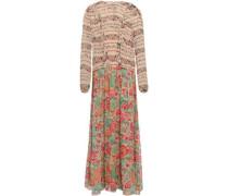Ruffled Paneled Georgette Midi Dress Neutral