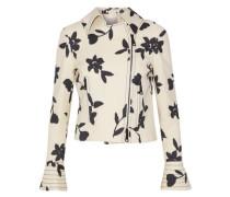 Floral-print Wool-twill Biker Jacket Cream