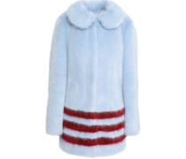 Striped Faux Fur Coat Sky Blue