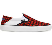 Houndstooth Canvas Slip-on Sneakers Red