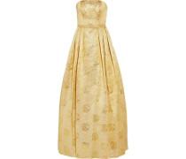 Strapless metallic matelassé gown