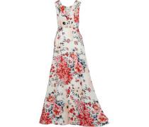Woman Floral-print Silk-gazar Gown Ivory