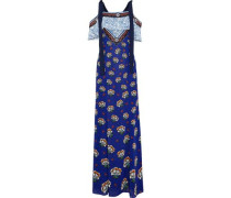 Canasta Cold-shoulder Printed Fil Coupé Chiffon Maxi Dress Royal Blue Size 12