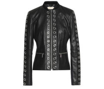 Eyelet-embellished leather jacket