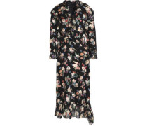 Ruffled voile-trimmed floral-print wool and silk-blend faille midi dress