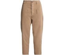 Cropped cotton-twill straight-leg pants