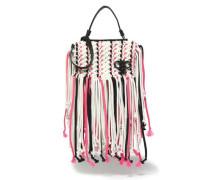 Fringed tasselled braided leather shoulder bag