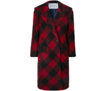 Woman Oversized Checked Double-breasted Wool-blend Coat Crimson