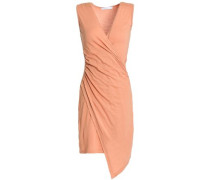 Juno Wrap-effect Ruched Stretch-jersey Dress Peach