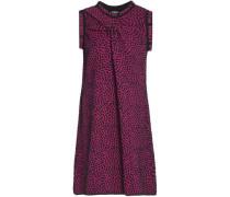 Gathered cotton-blend jacquard mini dress