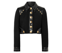 Woman Cropped Studded Wool-blend And Patent-leather Jacket Black