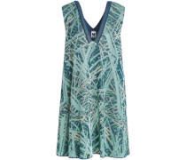 Flared Metallic Jacquard-knit Mini Dress Mint