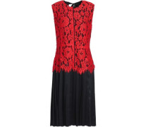 Layered Corded Lace And Silk-satin Dress Red