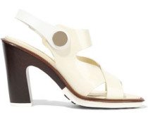 Woman Studded Patent-leather Sandals Ivory