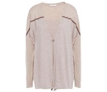 Woman Bead-embellished Metallic-paneled Cashmere And Silk-blend Cardigan Neutral