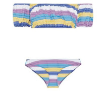 Leandra Off-the-shoulder Striped Stretch-cotton Bandeau Bikini Purple
