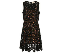 Embellished Laser-cut Suede Mini Dress Black