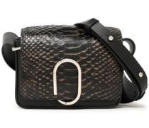 Paneled python and leather shoulder bag