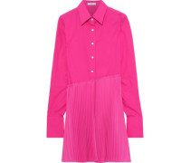 Pleated Crepe-paneled Cotton-poplin Shirt Fuchsia