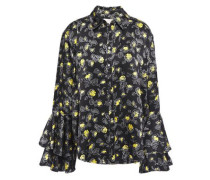 Woman Tiered Floral-print Silk-satin Blouse Black