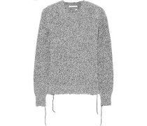 Distressed Mélange Knitted Sweater Gray