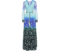 Tasseled Floral-print Dégradé Silk-georgette Gown Turquoise