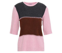 Whipstitched Ribbed Merino Wool-blend Top Dark Gray
