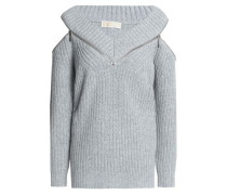 Cold-shoulder Zip-detailed Ribbed-knit Sweater Gray